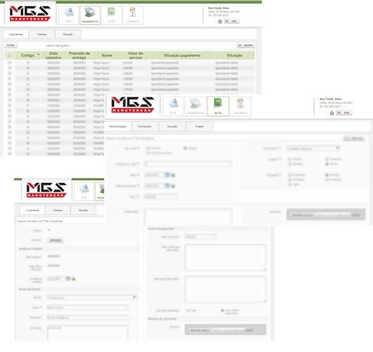 Print do projeto Manutenção MGS - Sistema de orçamentos e notas